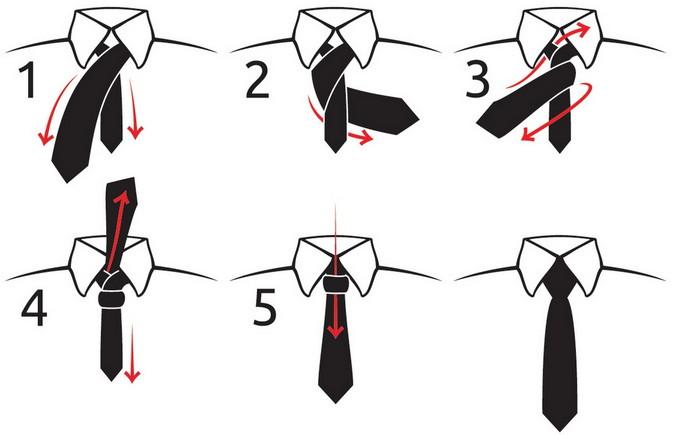 как быстро и просто завязать галстук схема
