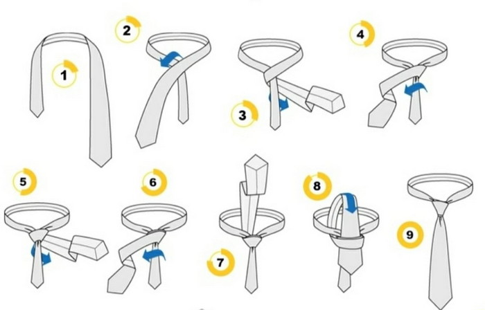 как завязать галстук принц альберт пошагово
