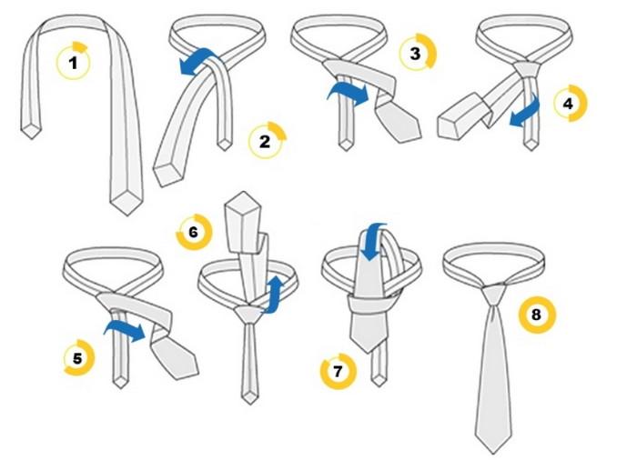 как завязать галстук пошагово для новичков